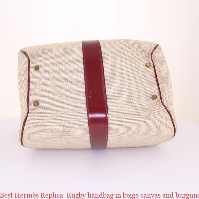 375d08d5aedf Best Hermès Replica Rugby handbag in beige canvas and burgundy box leather