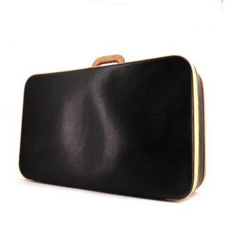 1ed1fa689e9e ... Best Hermès Replica Vintage travel bag in black and gold leather ...