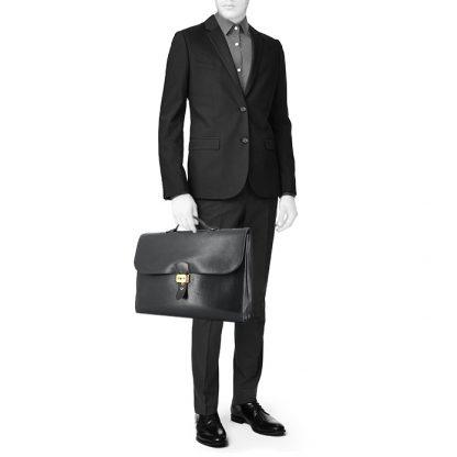 3e86ba3e1a5 Perfect Replica Hermes Sac à dépêches briefcase in black box leather ...
